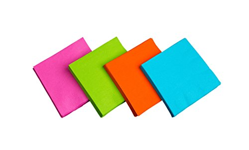 Party Essentials 2-Ply Paper Cocktail Beverage Napkins, Assorted Neon Brights, 48-Count - Hot Pink Napkins