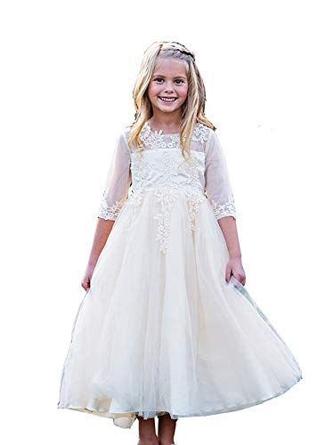 Little Girls Ivory Embroidered Ankle-Length Gwendolyn Flower Girl Dress 3 from Just Couture