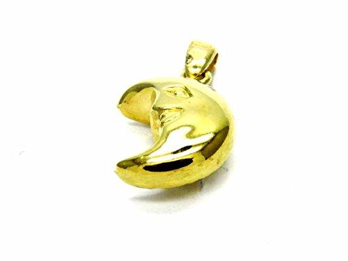 ciondololo or jaune 18carats Diamant Demi Lune et brillante-Pendentif lunette