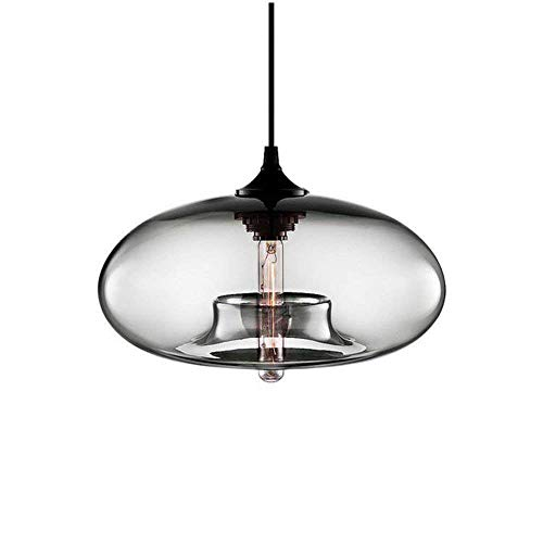 TheMonday Industrial Hanging Glass 1-Light Pendant Lamp Color Transparent Sphere Shape Ceiling Fixture Retro Vintage Clear Glass Pendant Lantern for Restaurant Hotel Kitchen (Color : Gray) ()