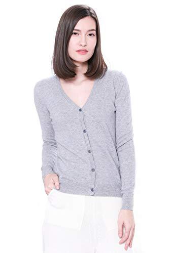 Goyo Cashmere Women's 100% Pure Cashmere Cardigan – Button Down V-Neck Cardigan (Light Grey, L)