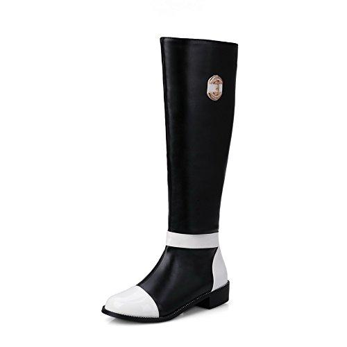 AllhqFashion Damen Gemischte Farbe Niedriger Absatz Blend-Materialien Reißverschluss Stiefel Schwarz