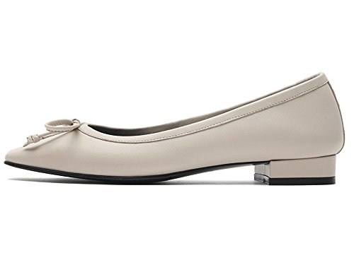 Multiple Beige Leather Sheep Womens Mary Colors KAREN Pointed WHITE Jane Flats Shoes Toe Skin F4HqOpPv