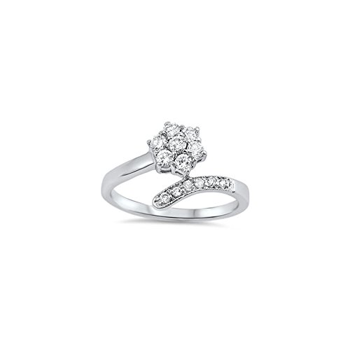 - Noureda Sterling Silver Fancy Flower Prong Set with Clear Czs Bypass Band Ring, Face Heigth of 12MM