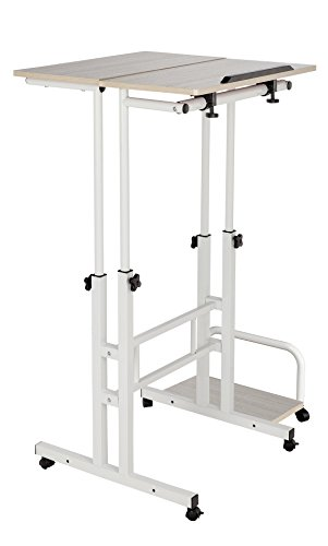 GD Marketing Mobile Stand Up Computer Desk, with Wheels, Height Adjustable, Two Tiers, Printer Stand, Adaptable for Sitting or Standing