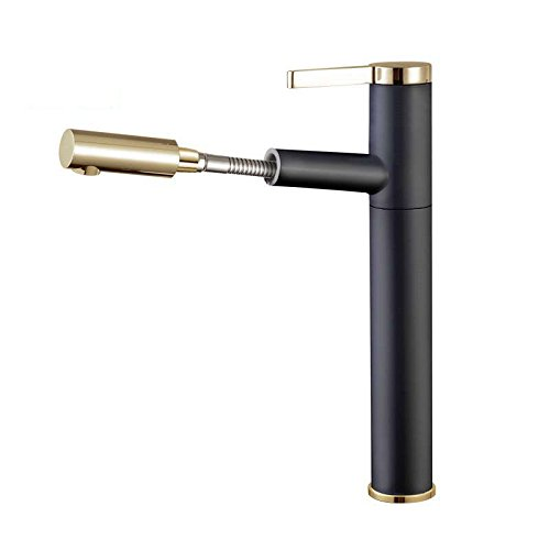 Modern simple copper hot and cold kitchen sink taps kitchen faucet Basin faucet all copper paint pull single hole hot and cold black heightening Suitable for all bathroom kitchen sinks