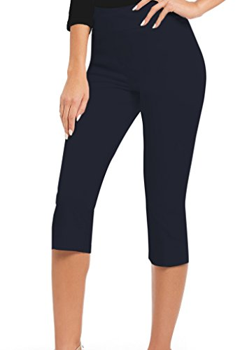 (HyBrid & Company Women Stretch Pull On Business Millennium Capri Pants KQ44972 Navy M)