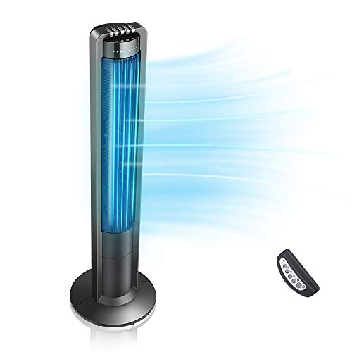 Airvention X01A Oscillating Premium Tower Fan, Quiet Remote Controlled Space Saving Fan with Timer for Home Office Use, Energy Efficient Design, 3 Silent Speeds and Modes, 43 inch, Black