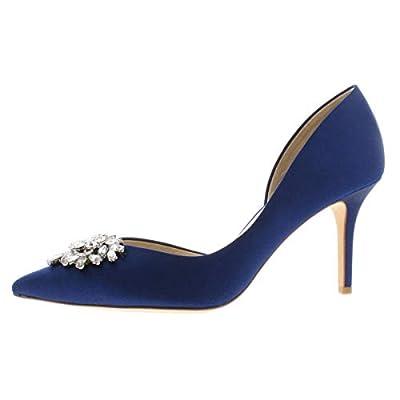 Badgley Mischka Womens Satin Embellished Evening Heels