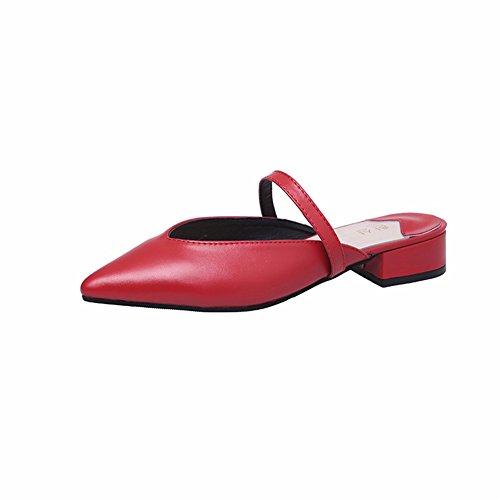 Sharp YUCH Chaussons Occasionnels PU Ladies' red Sandales Été WwYwBgxpq
