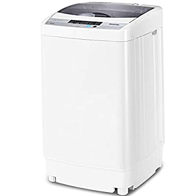 Giantex Portable Compact Full-Automatic Washing Machine 1.6 Cu.ft Laundry Washer Spin with Drain Pump