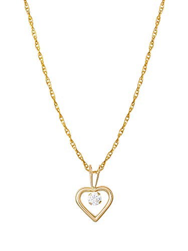 KIDS COLLECTION Jewelry for Girls, 14KT Yellow Gold Cubic Zirconia Heart Pendant Necklace, 16