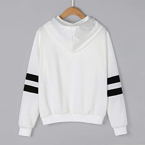 cappuccio con Bianco maglione causale manica donna felpa Stampa Moda donna felpa camicetta semplice da Felpa LQQSTORE lunga planetaria 7wSgARqFFO