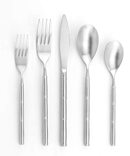 CHI SHANG 20-Piece Silverware Flatware Cutlery Set, 18/10 Stainless Steel Utensils with Bamboo Style Handle and Mirror…