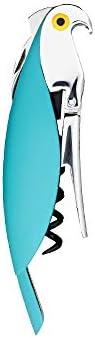 Alessi | Parrot AAM32 AZ - Sacacorchos de diseño para Sommelier, Aluminio Fundido y PC, Azul Claro