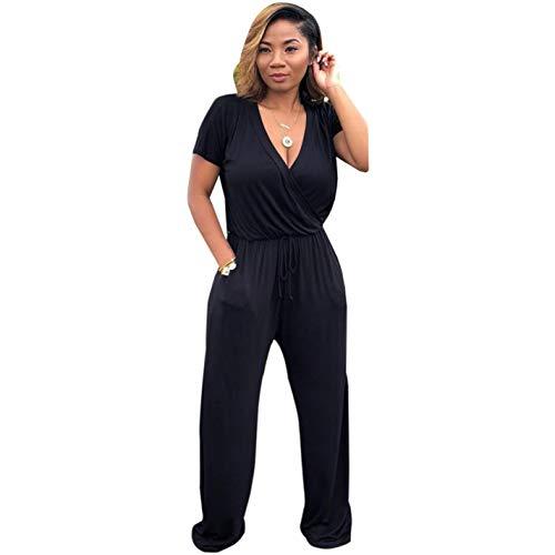 Summer Elastic V Sleeve Neck Short Black Jumpsuit Pockets qXXURwr