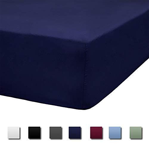 """Cok Fitted Sheet, 14"""" Deep Pockets Brushed Microfiber Polyester Fitted Bed Sheets Breathable, Wrinkle, Stain Resistant, Hypoallergenic (Navy Blue, - Queen Separates Sheet"""