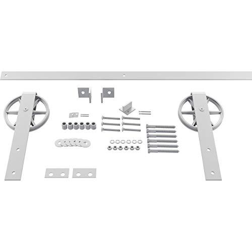 Goldberg Brothers Inc. GB600138HWRW Premium Wagon Wheel Strap Set Barn Door Hardware, 96 Inch Track Length (for 1 3/8…