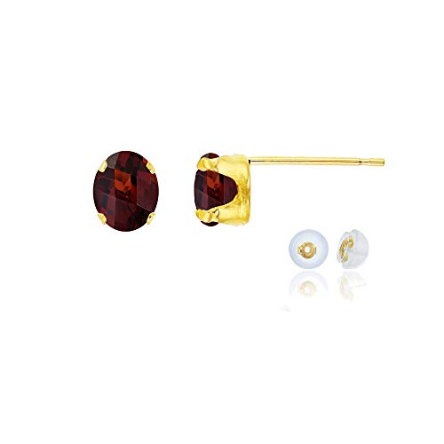 14K Yellow Gold 6x4mm Oval Garnet Stud Earring with Silicone Back