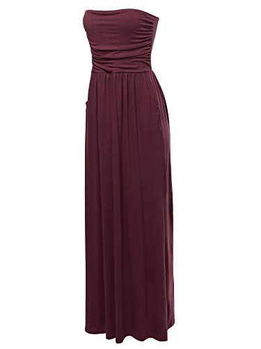 (A2Y Solid Viscose Tube Top Double Layer Side Pockets Maxi Dress Dark Burgundy S )