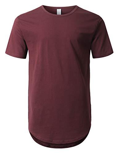 URBANCREWS Mens Hipster Hip Hop Basic Drop Tail Longline T-Shirt Wine, L