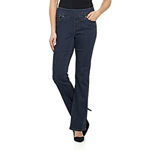 Rekucci Jeans Women's Ease in to Comfort Fit Pull-On Stretch Bootcut Denim Pants