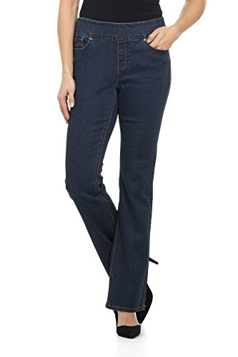 Rekucci Jeans Women's 'Ease In To Comfort Fit' Pull-On Stretch Bootcut Denim Pants (16SHORT,Dk. Wash)