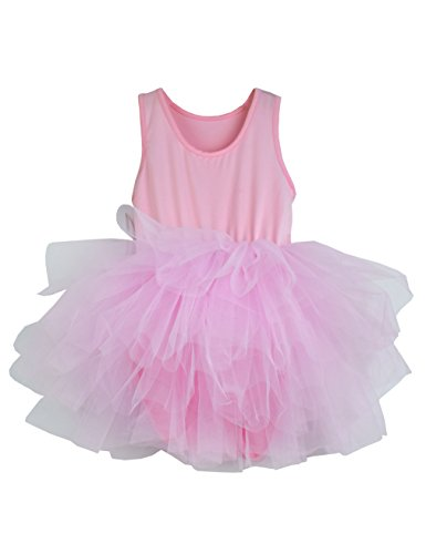 (Girls Camisole Tutu Dance Leotard with Fluffy 4-Layers Skirt Dress for Dance, Gymnastics and Ballet Pink 5-6 Years)