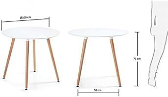 Noorsk Design Mesa Redonda de Comedor/Cocina Karelia 100: Amazon ...
