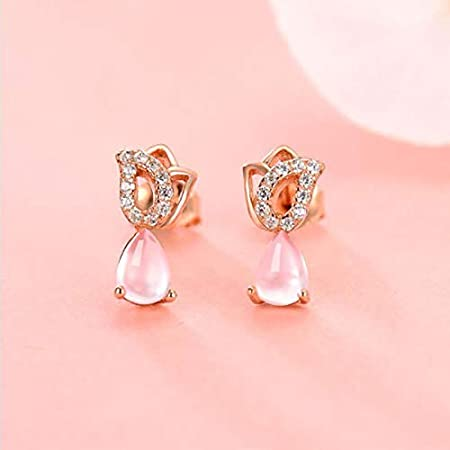 Wnakeli Earrings Women Studs Girls Rose Shape Studs Earrings Girls Jewelry Vintage Style for Gift Party or Wedding Valentine Daily Accessories Anniversary 1Pair