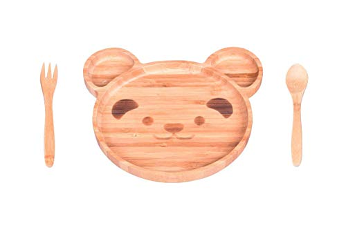 OZINCI 100% Bamboo Luxury Series Teddy Themed Plate, Fork and Spoon Feeding Set for Baby Toddlers (Teddy Bear)
