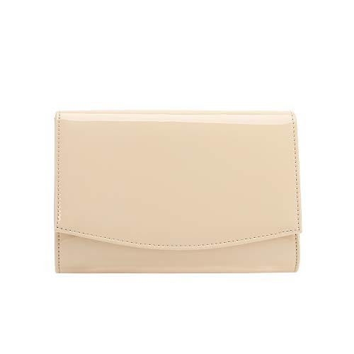 Clutch Blush - Charming Tailor Patent Leather Flap Clutch Classic Elegant Evening Bag Chic Dress Purse (Blush)