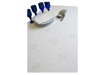 ArtisanStreet's White Star of David Tablecloth. Hem Stitch White Cloth with Embroidered Stars.