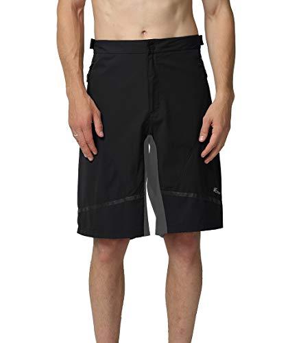 EZRUN Mens Mountain Bike Shorts Quick Dry Lightweight Water-Resistant Cycling MTB Shorts UPF 50+(Black,L)