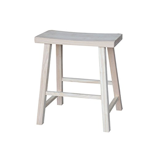 International Concepts 1S-682 24-Inch Saddle Seat Stool, Unfinished ()