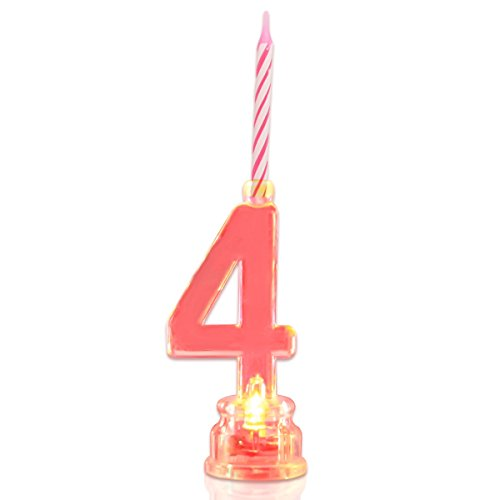 Multicolor Flashing Number Candle Set, Novelty Place Color Changing LED Birthday Cake Topper with 4 Wax Candles (Number 4) (Number Cake Topper 4)