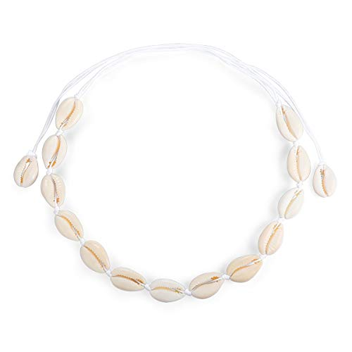 (Summer Beach Natural Cowrie Shell Necklace Handmade Woven Adjustable Boho Hawaii Sea Beach Choker for Women Girls (Long-Shell) )