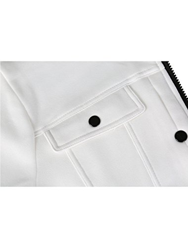 Collar Closure Zipper Sourcingmap Muti Front Stand Long Men Jacket Pockets White Sleeves 7qwxBE