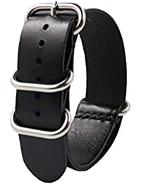 Quick Release Leather Watch Band, Universal Genuine Leather Watch Replacement Strap with Stainless Metal Buckle Clasp Watch Wristband
