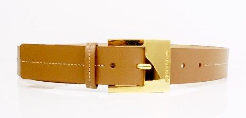 Leather Logo Buckle Belt (Michael Kors Mk Logo Tan Luggage Synthetic Leather Gold Buckle Belt Size)