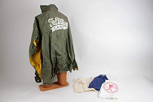 Red Sox - Ted Williams Camp Item Lakeville, Mass. Lot Feat. Raincoat, (2) Shirts, Baseball, Pillowcase & Laundry Bag