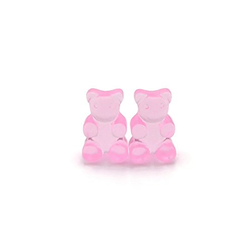 Pink Gummy Bear Earrings on Invisible Clip On Backs for Non-Pierced Ears, Translucent