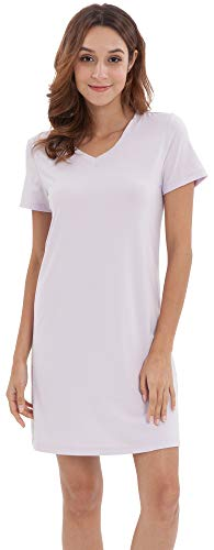 LazyCozy Women's Bamboo Cotton Nightgown Short Sleeve Nightshirt, Lavender Purple, Small