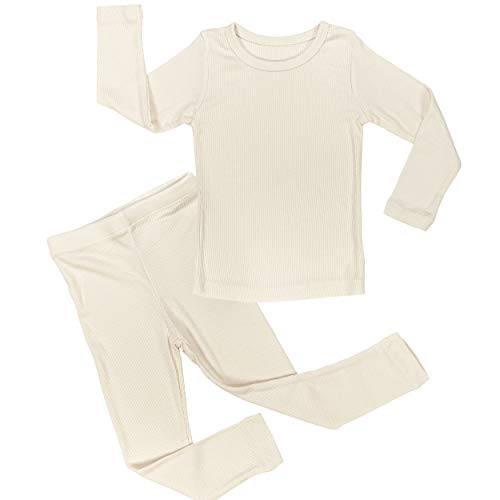 AVAUMA Baby Boy Girl Long Sleeve Ribbed Pajamas Set Snug-Fit Fall Winter Pjs Sleepwear Kids Toddler (X-Large / 4T - 5T, Ivory(L))