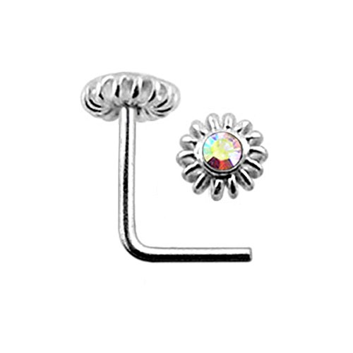 Rainbow Jeweled Gemmed Coiled Flower Top 22 Gauge Silver L Shape - L Bend Nose Stud Nose Pin