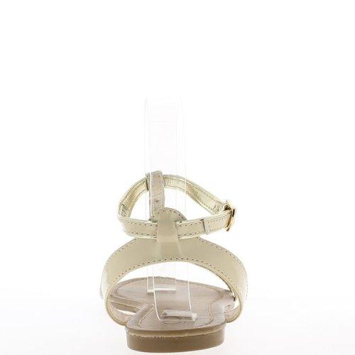 Vernice a piedi nudi donne beige e oro a twill tape 1 cm.