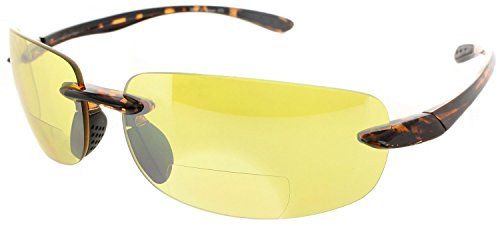 Fiore Island Sol Bifocal Reading Sunglasses Rimless TR90 Readers for Men and Women [Non-Polarized Tortoise Frame/Yellow Night Driving Lens, ()
