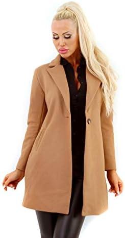 11155 Damen Long-Blazer Kurzmantel Business Damenjacke Reverse Knopf