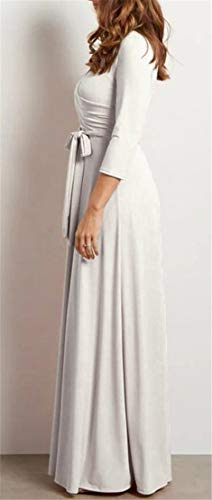 Con Casuale Bianca Lungo Scollo Oscillazione 3 Womens Abito Cintura 4 Musulmano A Profondo Manica Domple V qfwxU0XR