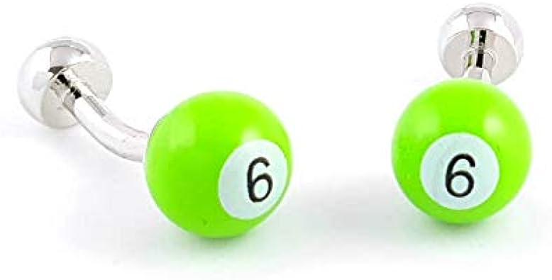 LA BELLE MANCHETTE Gemelos de Bola de Billar número 6 de Color Verde: Amazon.es: Joyería
